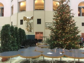 Universität Zürich,Tische, Stühle, Weihnachtsbaum, Topfpflanzen, antike Skulptur – ein etwas sehr buntesPotpourri,Foto: Mathis Neuhaus