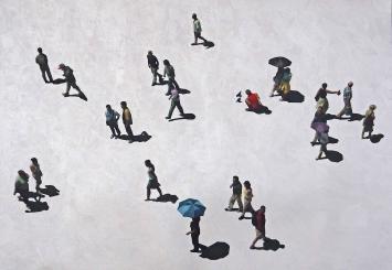 Urs Stooss, Tourists, 2018, Acryl und Pigmentdruck auf Leinwand, 60 x 120 cm