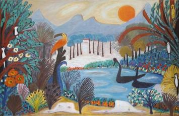 Josephine Troller, Verzauberung, 1970, Öl auf Leinwand, 65 x 100 cm, Privatbesitz