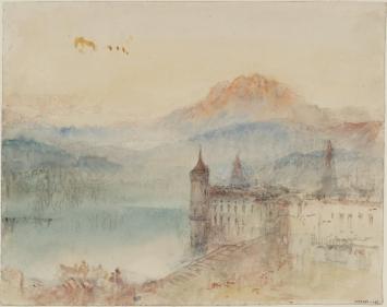 Joseph Mallord William Turner, Lucerne with Pilatus beyond, ca. 1841/44, Bleistift, Aquarell und Gouache auf Papier, 24.4 x 30.9 cm, © Tate, London, 2019