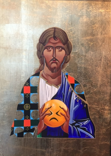 Vater vergib Ihnen sie wissen was sie tun, Tempera auf Holz, 60 x75, 2020