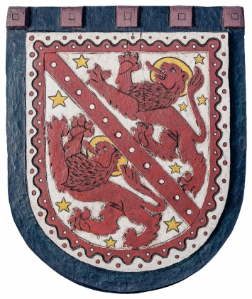 © Erwin Schatzmann, Wappen «Heiliges Winterthur», 2012/2018, Eichenholz, 40 x 33 cm