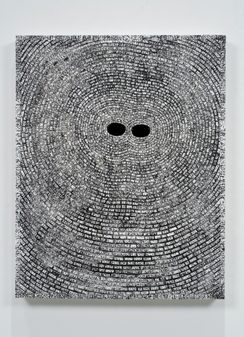 Jack Whitten, Self Portrait: Entrainment, 2008, Acrylic collage and eye glass lens on canvas 74 x 58.4 cm / 29 1/8 x 23 in  © The Estate of Jack Whitten  Courtesy The Estate of Jack Whitten and Hauser & Wirth Photo: John Berens