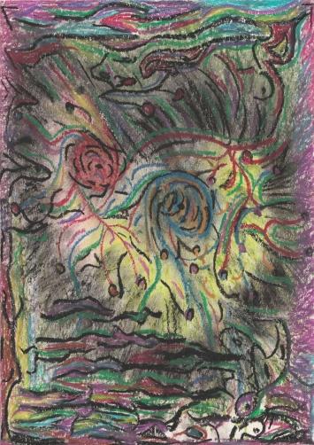 Pastell-Ölkreide auf Papier, 21,0 x 29,7 cm, 2019