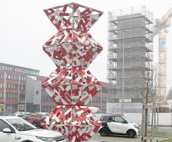 Beat Zoderer, Dreieinhalbstöckiger Dodekaeder, 2019/2020,Grienbachstrasse 11/Industriestrasse, Zug